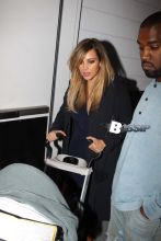 After taping Jimmy Kimmel Live in Hollywood, Kanye West, Kim Kardashian and their baby North West stopped for dinner at Hakkasan Restaurant in the 90210.
