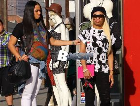 Rapper Tyga's fiance Blac Chyna shops for bargains and knock-off designer brands with friends in the LA Fashion District located in downtown Los Angeles, California on December 17,