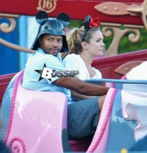 Scrubs star Donald Faison celebrates his 40th Birthday at Disneyland with his wife CaCee Cobb and family members. Donald can be seen wearing a novelty Darth Vader helmet with Mickey Mouse ears