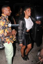 Beverly Hills, CA - Joseline Hernandez strikes a pose after a dinner date with Stevie J at Mr. Chow. The 'Love And Hip Hop: Atlanta' star wore a studded black leather jacket over a white crop top sweater, black miniskirt and a pair of lace up ankle boots for her night out in Beverly Hills.