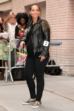 """Expecting mother Alicia Keys seen smiling and waving to fans as she leaves """"The View"""" in New York. Alicia keeps a rocker cool look in a black leather jacket and black shirt, with black skinny jeans."""