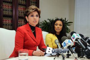 Gloria Allred gives a press conference with Floyd mayweathers ex fiancee Shantel Jackson to announce a law suit