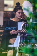 A fresh faced Kylie Jenner was seen wearing what appears to be an engagement ring while shopping at Sephora in Calabasas. The reality star covered her makeup free face with her left hand revealing a gold ring with a large diamond, could Kylie be the next Kardashian to wed?