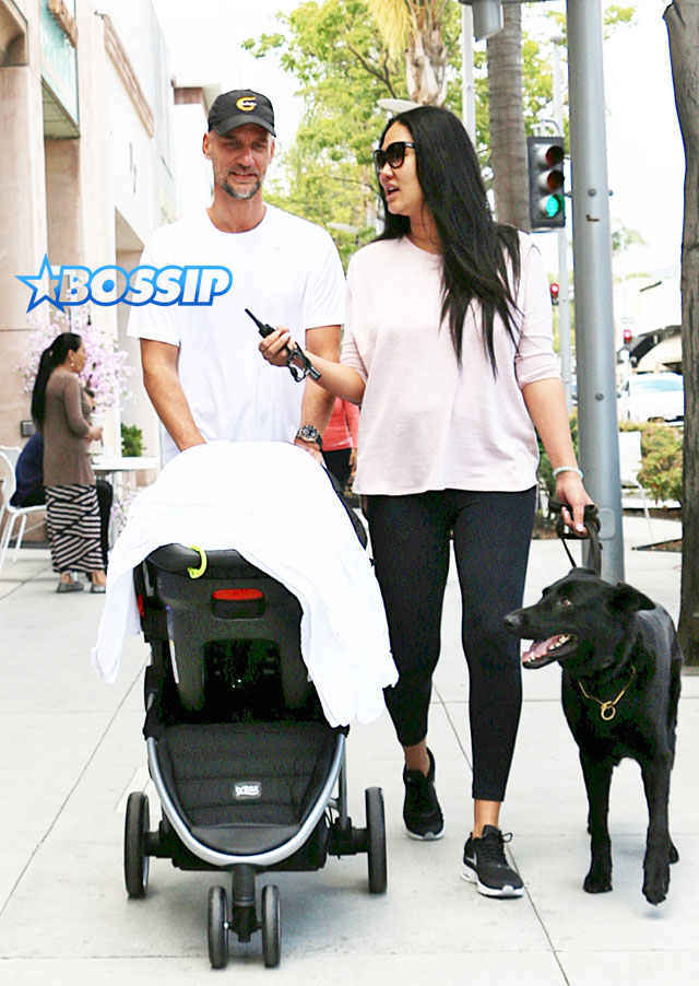 Kimora Lee Simmons husband Tim Leissner baby Wolfe Leissner and dog walking in Beverly Hills stroller