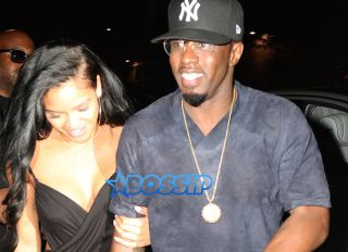 Diddy Sean Combs Cassie 1 Oak Black backless dress happy holding hands