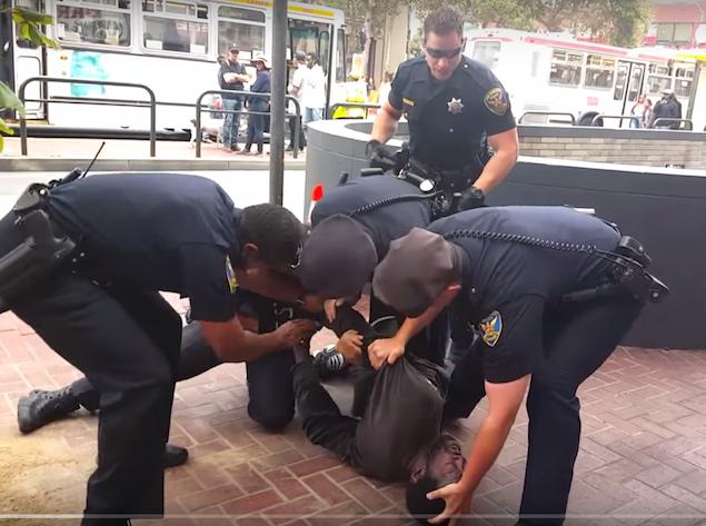 San Francisco cops take down man with crutches