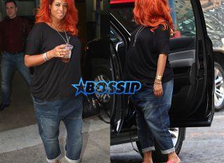 Splashnews Pregnant Kelis Soho House drop crotch jeans red hair red plastic clogs