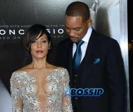 AKM-GSI Will Smith Jada Pinkett Smith Sheer Crystallized dress excruciating marriage Concussion L.A. premiere