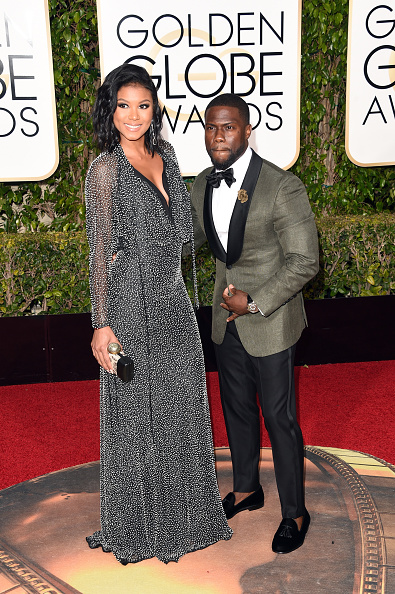 BEVERLY HILLS, CA - JANUARY 10:  Actor Kevin Hart (R) and Eniko Parrish attend the 73rd Annual Golden Globe Awards held at the Beverly Hilton Hotel on January 10, 2016 in Beverly Hills, California.  (Photo by Jason Merritt/Getty Images)