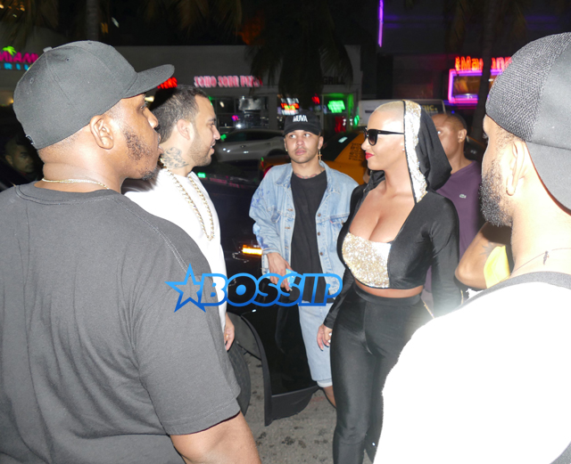 AKM-GSI New Year's Eve Miami Dream Nightclub French Montana and Amber Rose leave at the same time ace of spades black spandex outfit