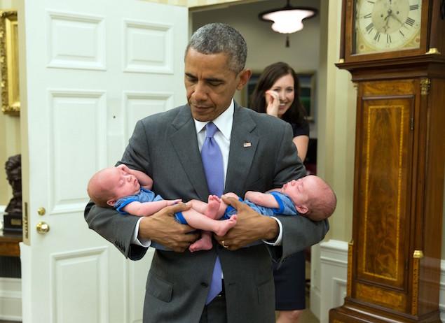 President Barack Obama 18 twins