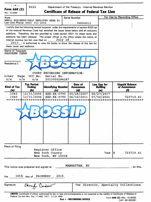 Swizz Beatz tax paperwork