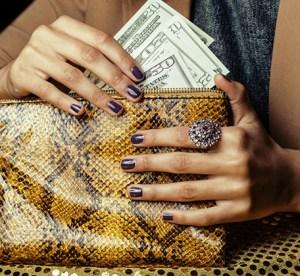 black woman purse money