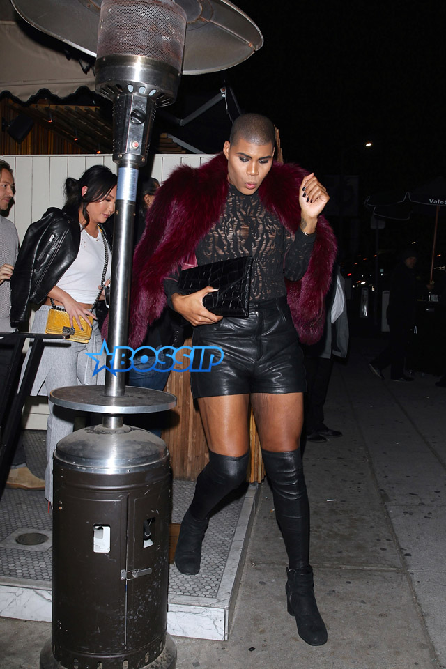 AKM GSI EJ Johnson thigh high boots leather shorts lace top burgundy fur Dorothy Wang The Nice Guy