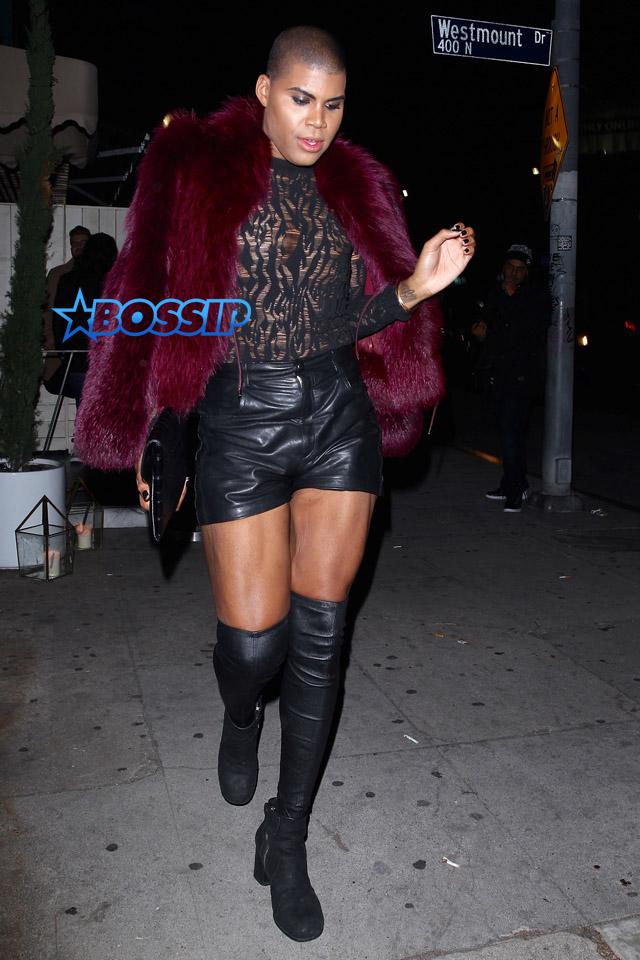 AKM GSI EJ Johnson thigh high boots leather shorts lace top burgundy fur Dorothy Wang The Nice Guy