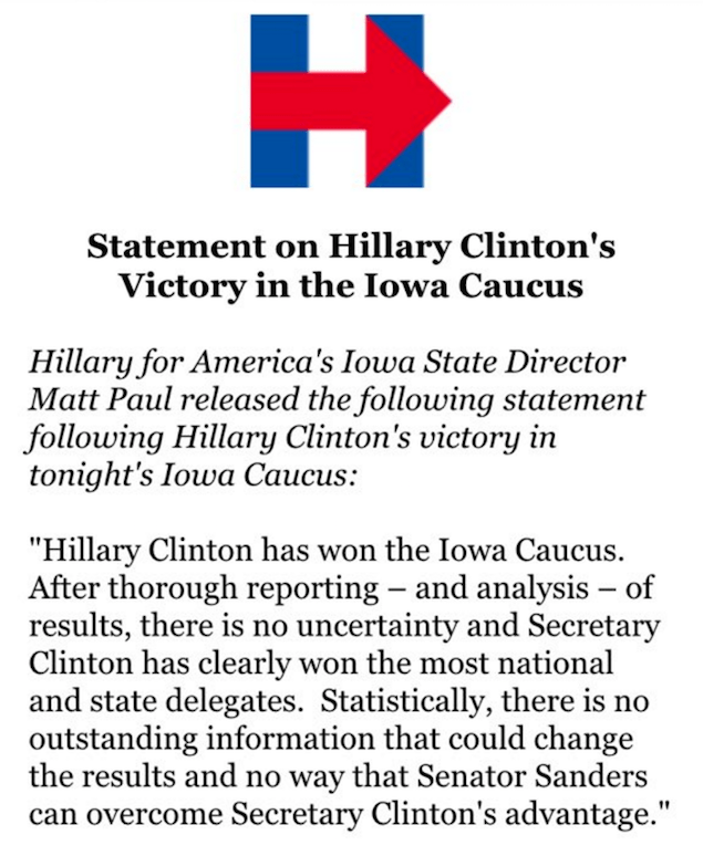 Hillary Clinton's victory in Iowa Caucus