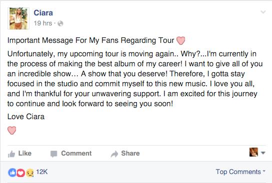 Ciara reveals she's pushing back her tour