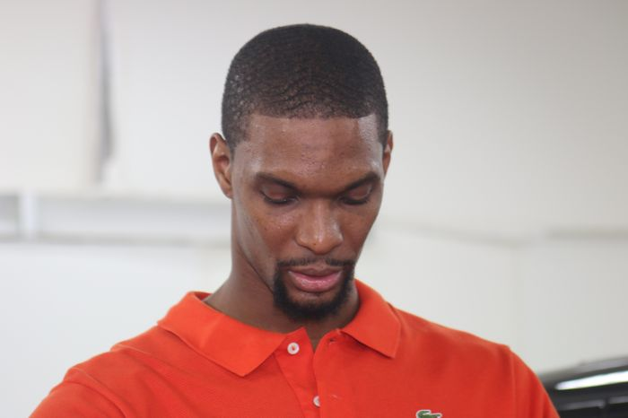 **File Photos **Miami Heat All-Star forward Chris Bosh is expected to meet with doctors Thursday to determine the seriousness of blood-clotting fears in his left calf and whether the use of blood thinners could allow him to return this season, league sources said. Bosh, met with Heat physicians on Monday in Miami and will get further evaluation on Thursday, sources said. The two time NBA champion Bosh missed the final 30 games just a season ago after a blood clot in his calf moved to his lungs. He took blood thinners for several months following the 2015 clotting. Pictured: Chris Bosh Ref: SPL1228397 160216 Picture by: Charlie Ans / Splash News Splash News and Pictures Los Angeles: 310-821-2666 New York: 212-619-2666 London: 870-934-2666 photodesk@splashnews.com
