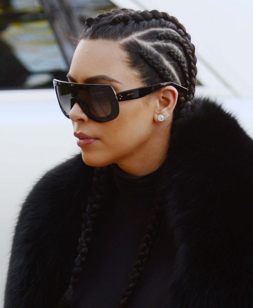 Kim Kardashian with her hair in braids heads to a meeting in Beverly Hills, Ca with her BFF Jonathan Cheban