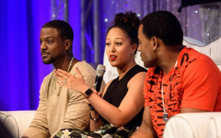 """L-R: Actor Lance Gross, """"The Real"""" talk show co-host Tamera Mowry-Housley, and actor Lamman Rucker participate in a panel discussion March 5, 2016 during Disney's Dreamers Academy with Steve Harvey and Essence Magazine at Epcot in Lake Buena Vista, Fla. (Todd Anderson, photographer)"""