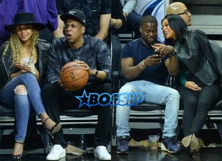 AKM-GSI Jay Z Beyonce Kevin Hart Eniko Parrish Clippers Game