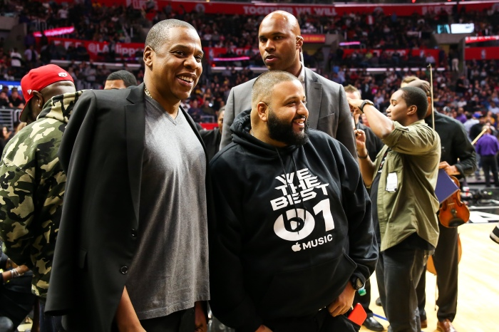 Beyonce and Jay Z attend the LA Clippers vs. Warriors game at Staples Center in Los Angeles Pictured: Jay Z, DJ Khaled Ref: SPL1207117  200216   Picture by: Emmerson / Splash Splash News and Pictures Los Angeles:310-821-2666 New York:212-619-2666 London:870-934-2666 photodesk@splashnews.com