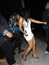 AKM-GSI Wiz Khalifa multicolored palm trees shirt drunk blizzard Bootsy Bellows helps cute girl in white dress
