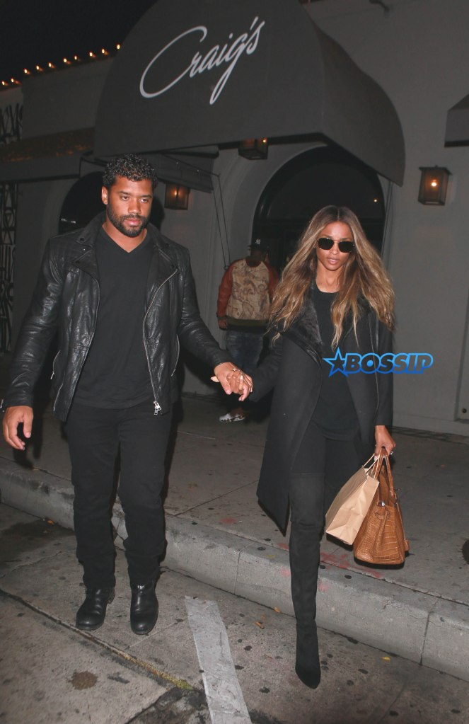 ** RESTRICTIONS: ONLY UNITED STATES, BRAZIL, CANADA ** West Hollywood, CA - West Hollywood, CA - Russell Wilson and Ciara go on a dinner date in matching clothing. The happy, hand holding couple kept it simple in all black outfits on their dinner date at Craig's. AKM-GSI 8 APRIL 2016 To License These Photos, Please Contact : Maria Buda (917) 242-1505 mbuda@akmgsi.com or Steve Ginsburg (310) 505-8447 (323) 423-9397 steve@akmgsi.com sales@akmgsi.com