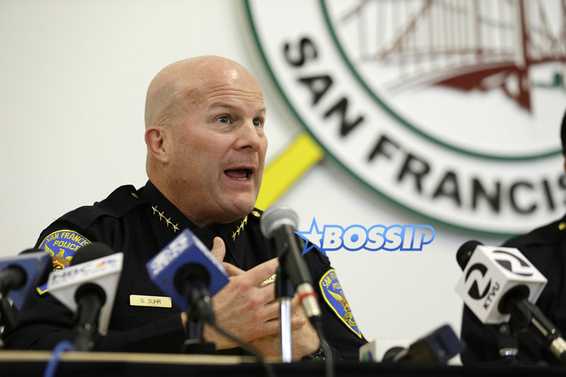 FILE - In this April 13, 2016 file photo, San Francisco police Chief Greg Suhr speaks during a town hall meeting to provide the Mission District neighborhood with an update on the investigation of an officer involved shooting in San Francisco.  San Francisco's public defender released text messages Tuesday, April 26, 2016, written by former officer Jason Lai, disparaging blacks, Latinos and others. Lai resigned from the department earlier in April.  (AP Photo/Eric Risberg, File)