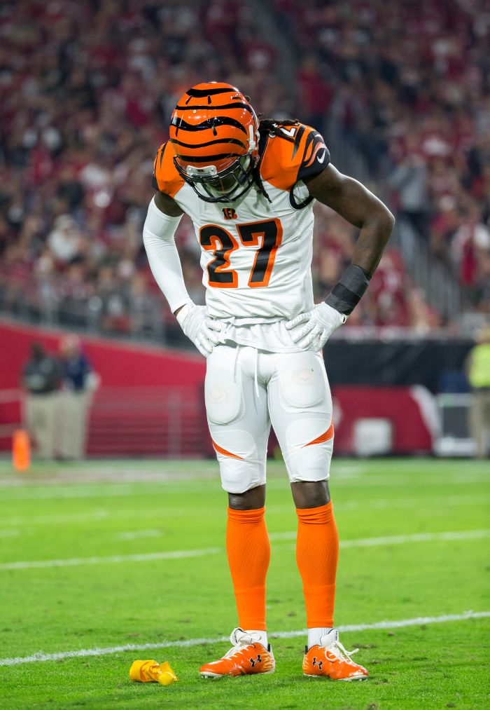 Cincinnati Bengals defensive back Dre Kirkpatrick (27) looks down at a penalty flag after commiting a penalty during an NFL game against the Arizona Cardinals on Sunday, Nov. 22, 2015, in Glendale, Ariz. The Cardinals won the game, 31-28. (Greg Trott via AP)