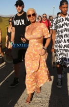 Amber Rose Day 3 Coachella FameFlynetpictures cleavage maxi dress