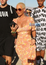 Amber Rose Day 3 Coachella cleavage maxi dress fameflynetpictures