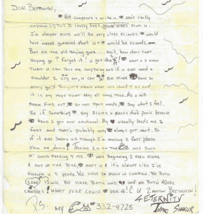 Tupac love letter to Beethoven