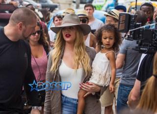Khloe Kardashian Odom holds niece North West as she prepares to enter the Havana Club Rum Museum in Havana, Cuba, Wednesday, May 4, 2016. (AP Photo/Desmond Boylan)