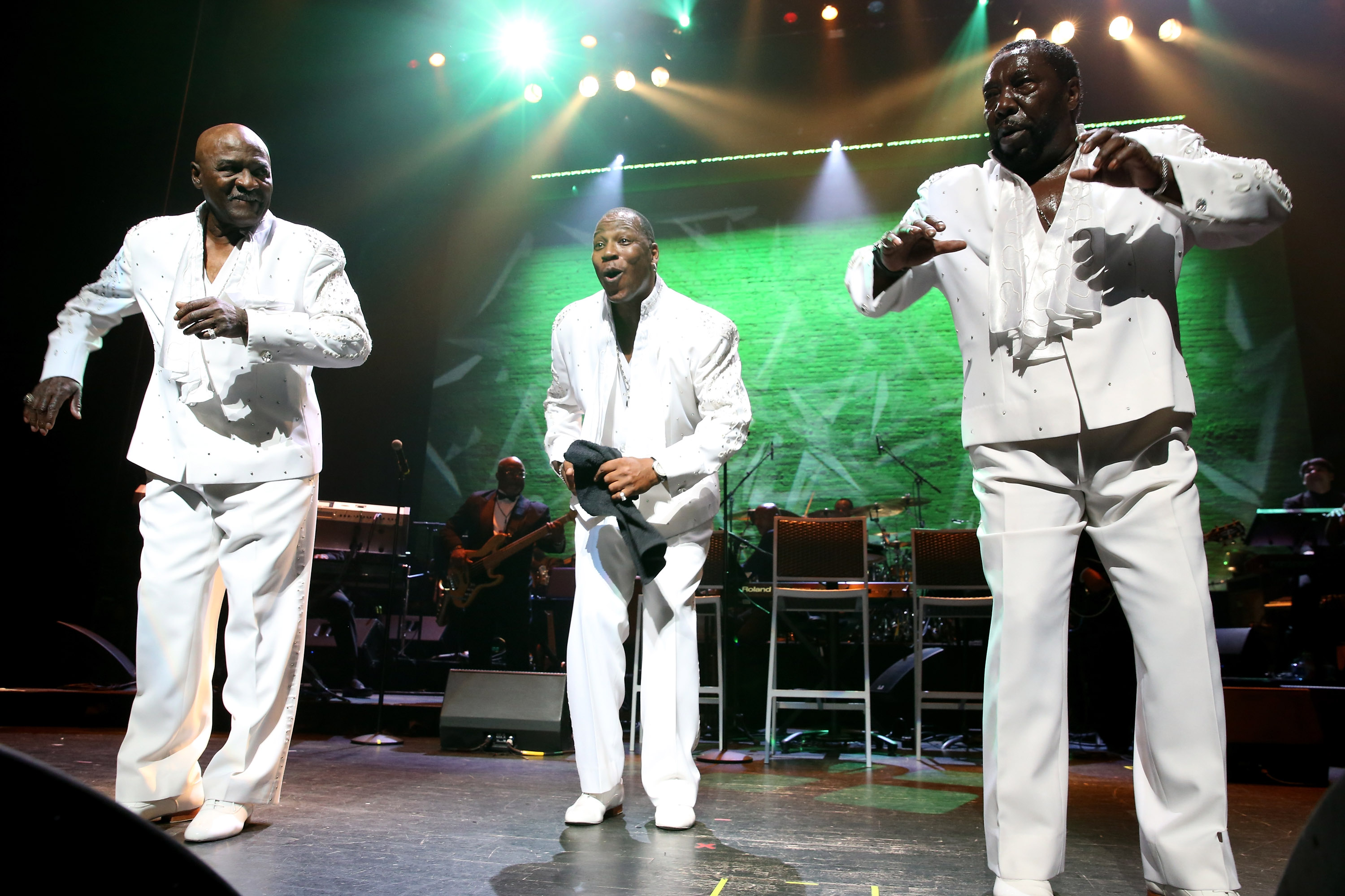 NEW YORK, NY - JUNE 13: Walter Williams, Eric Grant and Eddie Levert of The O'Jays preform during Prince Walk of Fame Induction and 2016 Spring Gala at The Apollo Theater on June 13, 2016 in New York City. (Photo by Shahar Azran/WireImage)