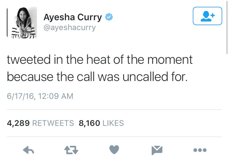 Ayesha Curry tweets NBA rigged 3