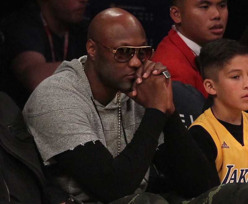 Celebrities at the Los Angeles Lakers game.