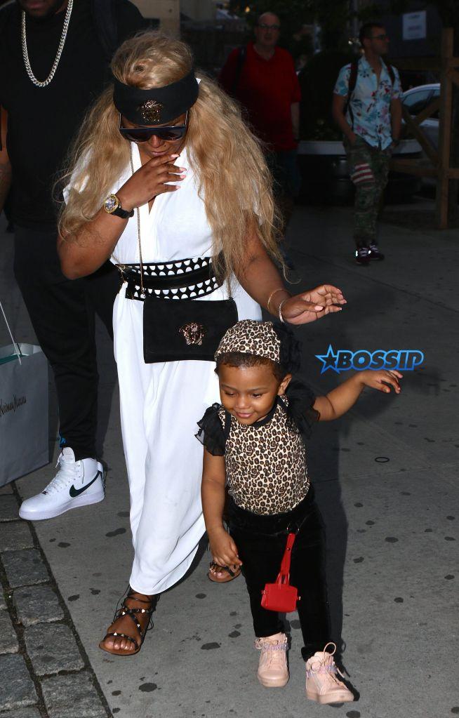 Lil'Kim with her daughter Royal Reign in NYC Pictured: Lil'Kim & Royal Reign Ref: SPL1304043 160616 Picture by: Nancy Rivera / Splash News Splash News and Pictures Los Angeles:310-821-2666 New York:212-619-2666 London:870-934-2666 photodesk@splashnews.com