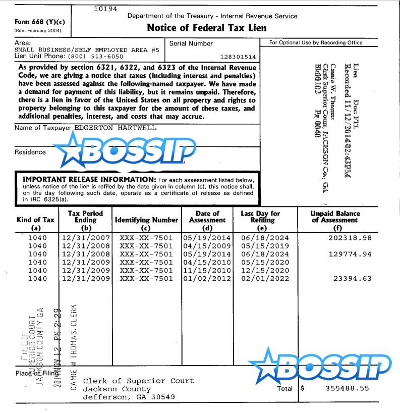 ed hartwell federal tax lien
