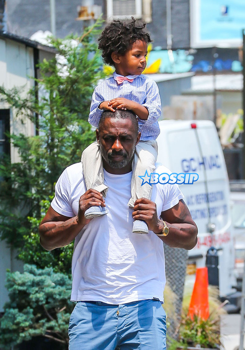 Actor Idris Elba son Winston friend in New York City, New York on July 6, 2016. Winston  daddy ride on his shoulders. FameFlynet