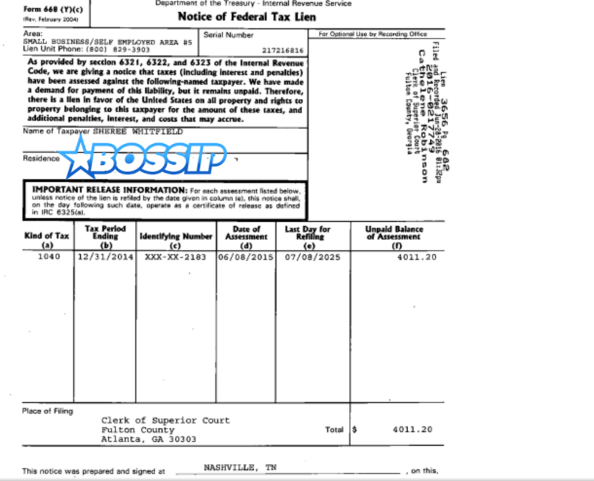 sheree whitfield federal tax lien