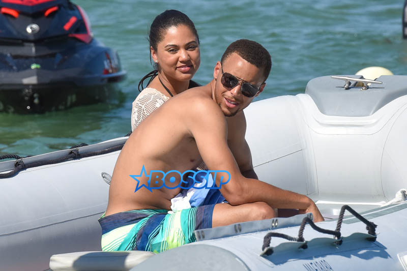 Saint-Tropez, France - basketball player Golden State Warriors, Stephen Curry, wife Ayesha St. Tropez. Beach Boat Swim Bikini Coverup Sunglasses Givenchy Slides FlipFlops AKM-GSI