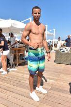 Saint-Tropez, France - basketball player Golden State Warriors, Stephen Curry, wife Ayesha St. Tropez. Beach Boat Swim Bikini Coverup Sunglasses Givenchy Slides FlipFlops AKM-GSI