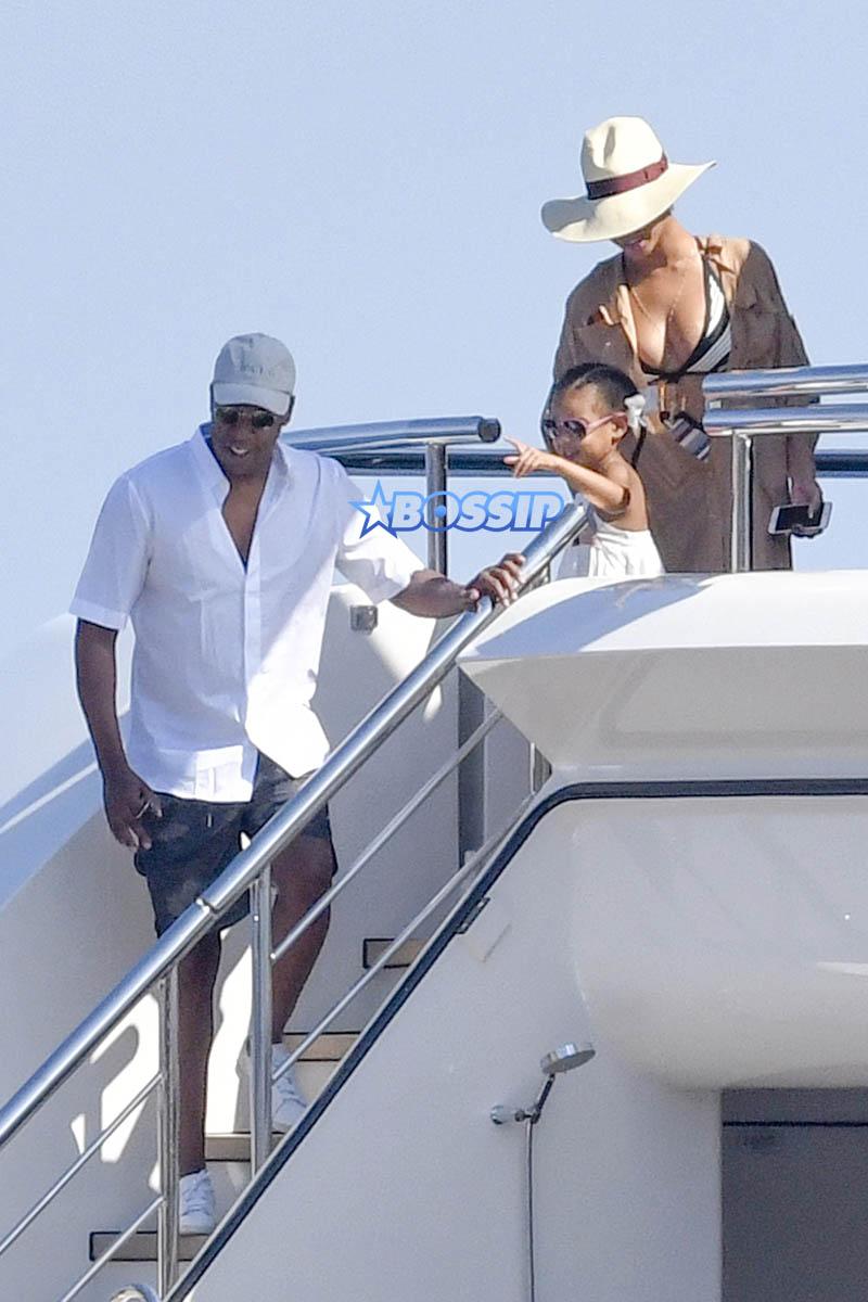 Blue Ivy Carter Jay Z Beyonce yacht Capri Italy sunglasses swimsuit coverup  AKM-GSI