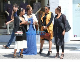 Actress Christina Milian lunch with mother and sisters in Beverly Hills, California on August 24, 2016. Christina's sister Lizzy is pregnant and expecting her first child. FameFlynet