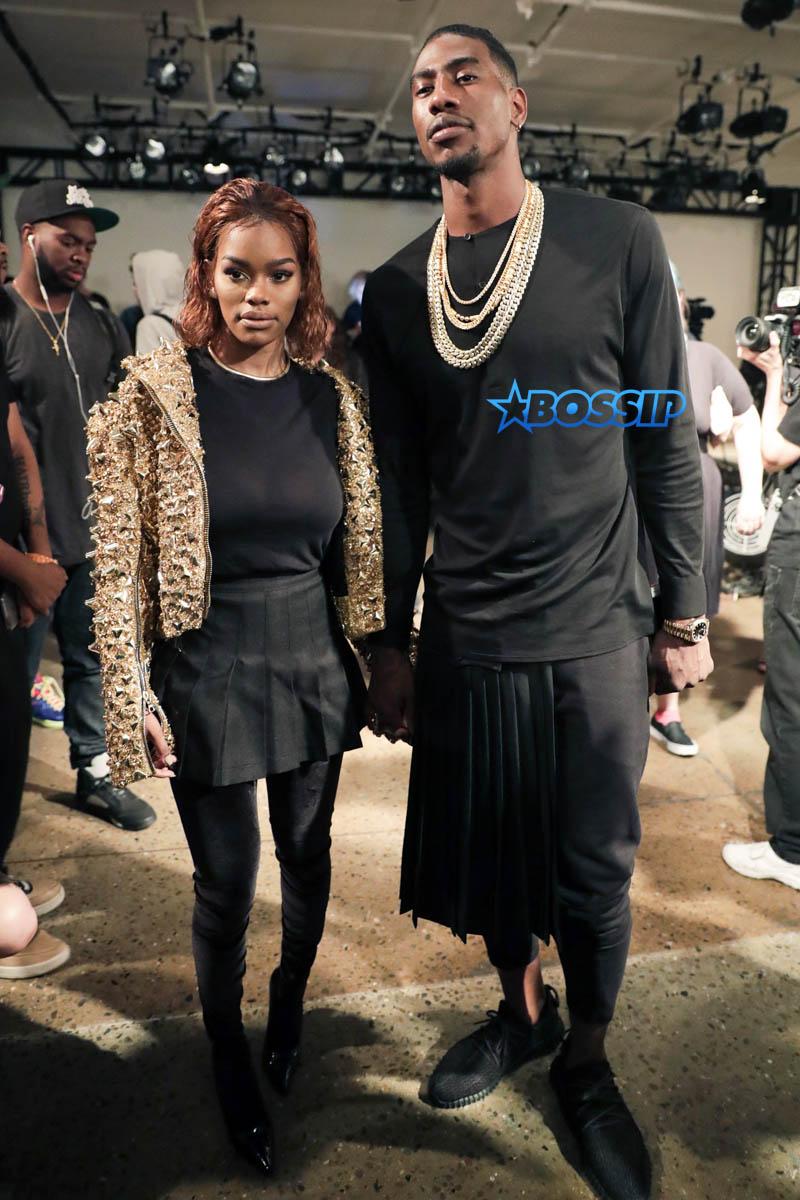 Teyana Taylor Iman Shumpert The Blondes NYFW 2016 AKM-GSI fashion show matching black