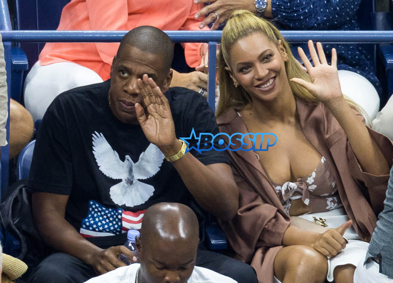Jay Z, Beyonce Day four of the 2016 US Open at the USTA Billie Jean King National Tennis Center on August 29, 2016 in the Flushing Queens New York City SplashNews