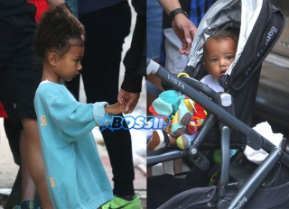 FameFlynetPictures 52166483 Kim Kardashian and Kanye West's children North and Saint West are seen leaving their apartment with their nanny in New York City, New York on September 7, 2016.