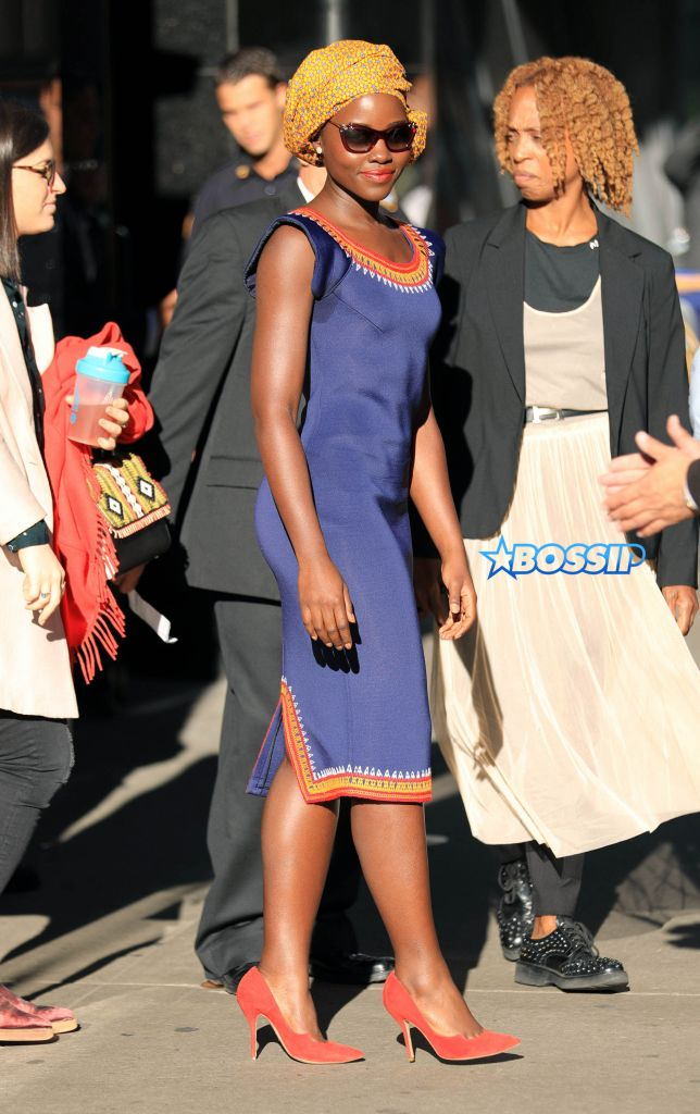 Lupita Nyong'o is all smiles at Good Morning America in New York City Pictured: Lupita Nyong'o Ref: SPL1362700 260916 Picture by: Jackson Lee / Splash News Splash News and Pictures Los Angeles:310-821-2666 New York:212-619-2666 London:870-934-2666 photodesk@splashnews.com