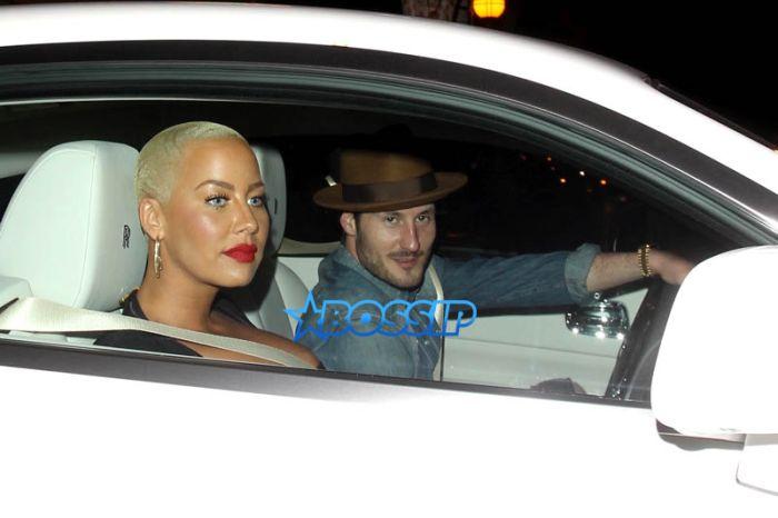 Amber Rose and Valentin Chmerkovskiy leave a date night at LA hot spot Delilah restaurant. fitted black dress,Val blue shirt torn jeans. *Shot On October 26, 2016* AKM-GSI